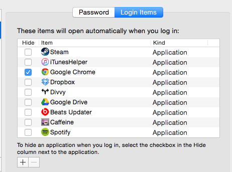 Login Items on Mac OS X