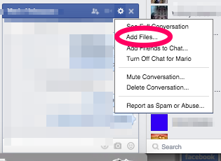 Facebook Chat File Sending -- Step 2 -- Adding Files