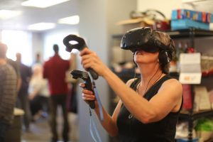 A participant at the VR Happy Hour || Boulder Startup Week 2017